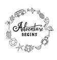 and so the adventure begins hand drawn vector image
