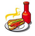 appetizing hotdog vector image vector image