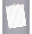 Blank lined paper from a notepad vector image vector image