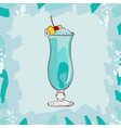 blue hawaii tropical classic cocktail alcoholic vector image