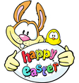 bunny hold egg and chicken - happy easter vector image