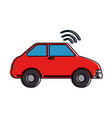 car vehicle with wifi signal vector image