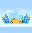 carpool transport service flat people character vector image