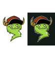 cartoon grinning troll mascot with horns in cap vector image vector image
