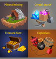 cartoon mining game design icon set vector image vector image