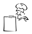 Chinese or japanese chef with blank menu vector image