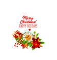 christmas gift with new year midnight clock icon vector image