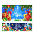 christmas gifts snowman and new year presents vector image vector image