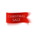 christmas sale red realistic paper banner vector image vector image