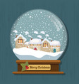 christmas snow globe with beautiful houses in it vector image