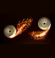 circular saw blades with sparks metal work fire vector image