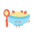 cute happy bowl oatmeal porridge with spoon vector image vector image