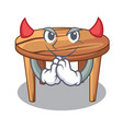 devil cartoon wooden dining table in kitchen vector image