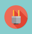 electric plug flat icon with long shadow eps10 vector image vector image
