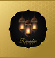 elegant hanging lanterns ramadan kareem background vector image vector image
