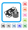 euro and dollar cash framed icon vector image vector image