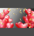 flying bunch red balloon hearts and golden vector image vector image