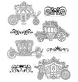 graphic set with old carriages and vintage vector image vector image