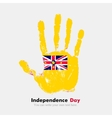 Handprint with the Flag of Niue in grunge style vector image vector image