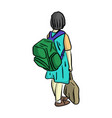 happy and smiling little girl with school bag on vector image