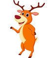 happy deer cartoon waving hand vector image vector image