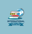 happy international literacy day logo vector image vector image