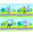 kid skateboarding in city park people walking vector image vector image