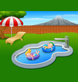 kids floating on inflatable ring in the pool vector image