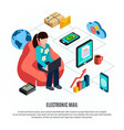 mail isometric colored composition vector image vector image