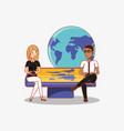 man and woman with phones sitting on big device vector image vector image