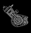 motocycle engine design isolated in black vector image vector image