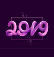 new year gradient figures 2019 design template vector image vector image