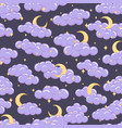 night sky seamless pattern with clouds stars moons vector image vector image