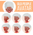 Old woman avatar set black afro american