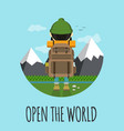 open the world hipster concept flat vector image vector image