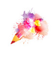 pencil with colorful splashes creativity concept vector image vector image