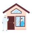 person with biohazard suit and facade house vector image vector image