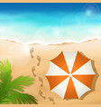 sandy beach with a beach umbrella vector image vector image