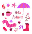 set cartoon autumn objects vector image