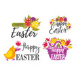 set easter greeting logos or labels with eggs vector image vector image