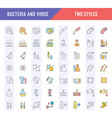 set line icons bacteria and virus vector image