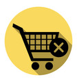 shopping cart with delete sign flat black vector image vector image