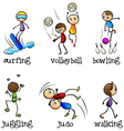 Six different activities vector image vector image