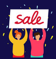 smiling girl and boy stand and hold sale banner vector image