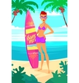 Surfing girl cartoon character Isolated vector image vector image