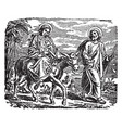 the flight into egypt - mary joseph and jesus vector image