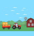 tractor pulling trailer with hay banner vector image vector image