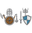 viking armor set - helmets shields and sword axe vector image vector image