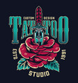 vintage tattoo studio colorful label vector image vector image