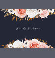 watercolor wedding invite save date card floral vector image vector image